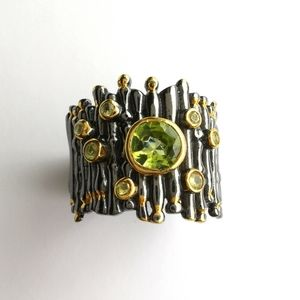 NWT Peridot Sterling Silver Ring 14k gold overlay